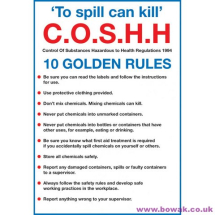 COSHH 10 Golden Rules Wallchart