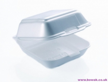 Foam Hinged Food Box White HP6