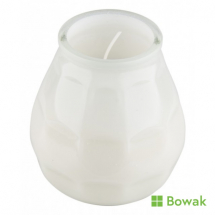 Lowboy Candle in White Glass