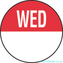 Day Dot 19mm Labels Wednesday Red