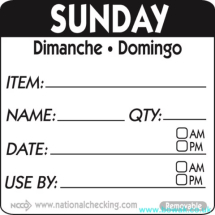 Item-Date-Use Labels Sunday