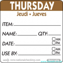 Item-Date-Use Labels Thursday