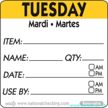 Item-Date-Use Labels Tuesday